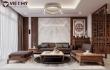 Thiết kế full nội thất gỗ óc chó căn hộ cao cấp Đông Anh - Hà Nội