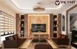 Nội thất phòng khách gỗ óc chó thiết kế hiện đại xu hướng 2020