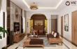 Thiết kế nội thất phòng khách gỗ óc chó nhà anh Sỹ - Hòa Bình