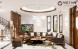 Thiết kế nội thất biệt thự gỗ óc chó 3 tầng tại Hải Dương