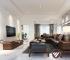 Thiết kế phòng khách với sofa gỗ óc chó