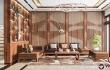 Thiết kế thi công nội thất biệt thự 3 tầng với gỗ óc chó