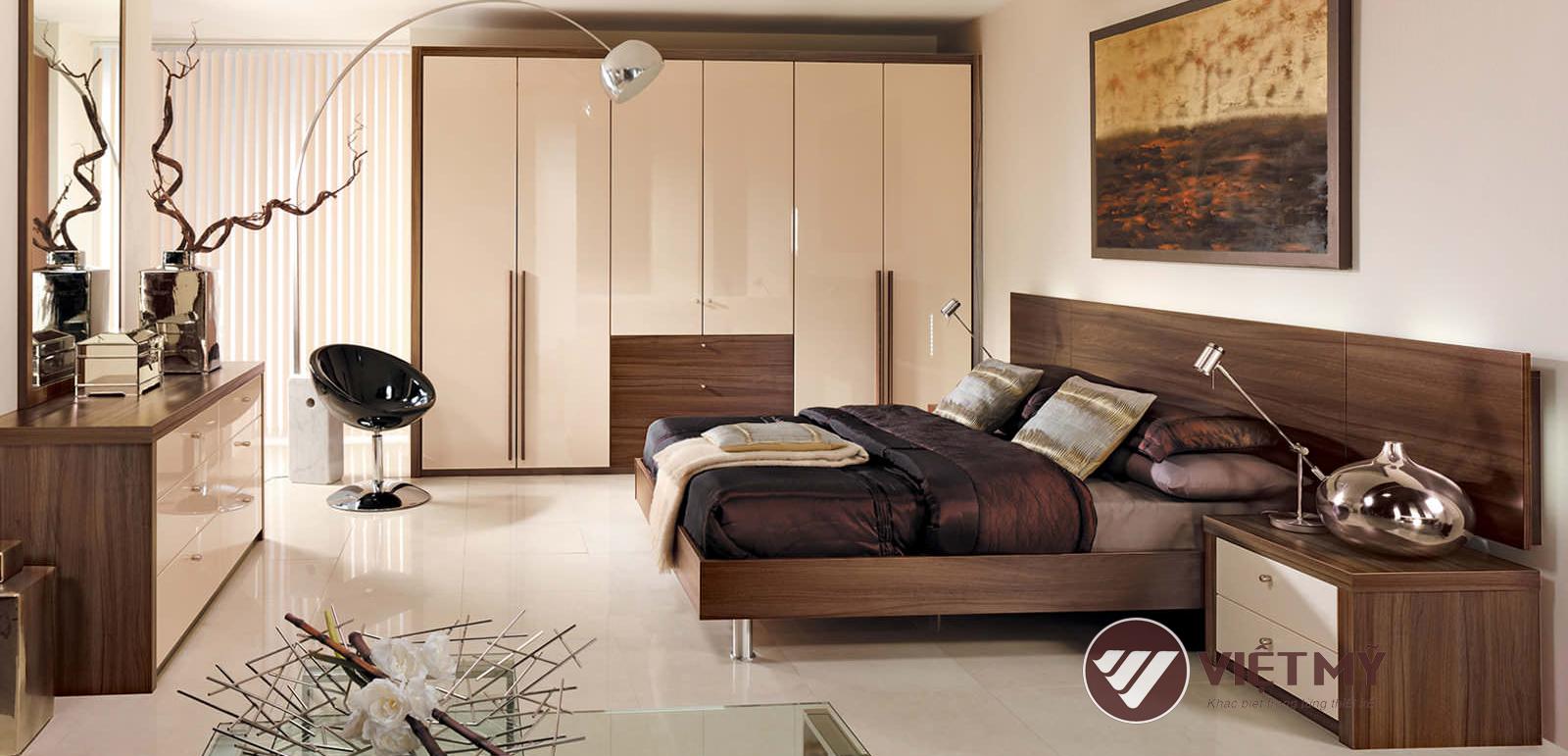 Thiết kế phòng ngủ gỗ óc chó VIỆT MỸ