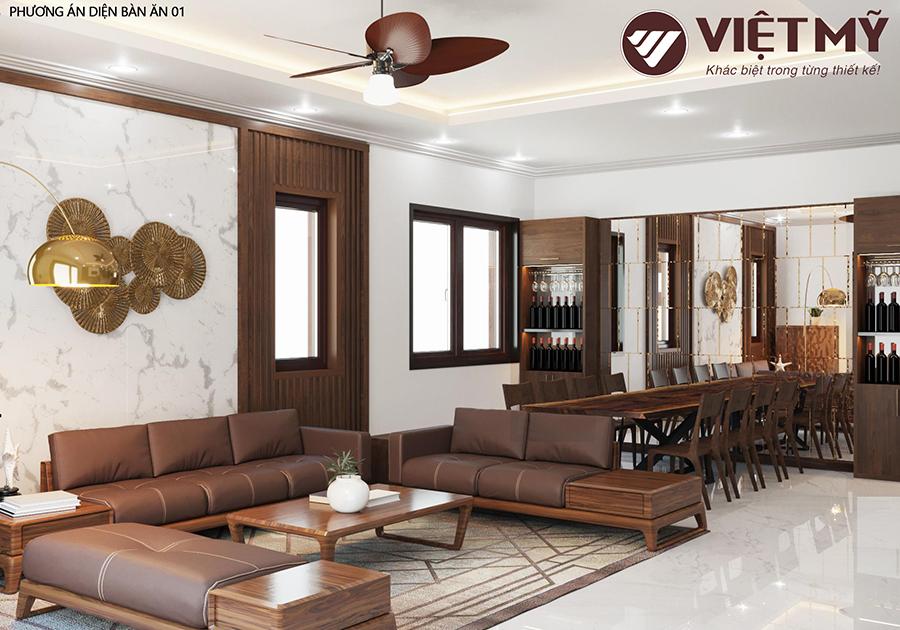 Thiết kế nội thất gỗ óc chó sang trọng