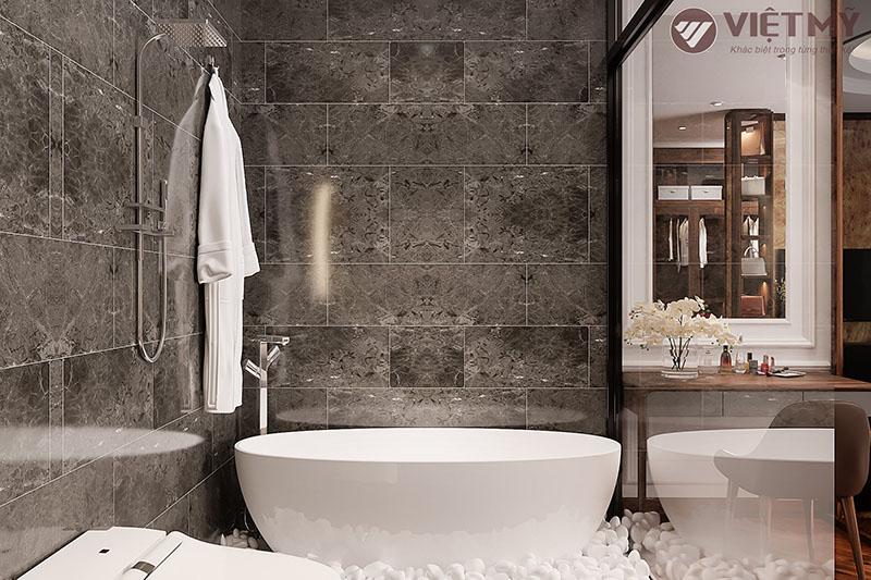Thiết kế nội thất phòng ngủ gỗ óc chó  biệt thự Bắc Giang