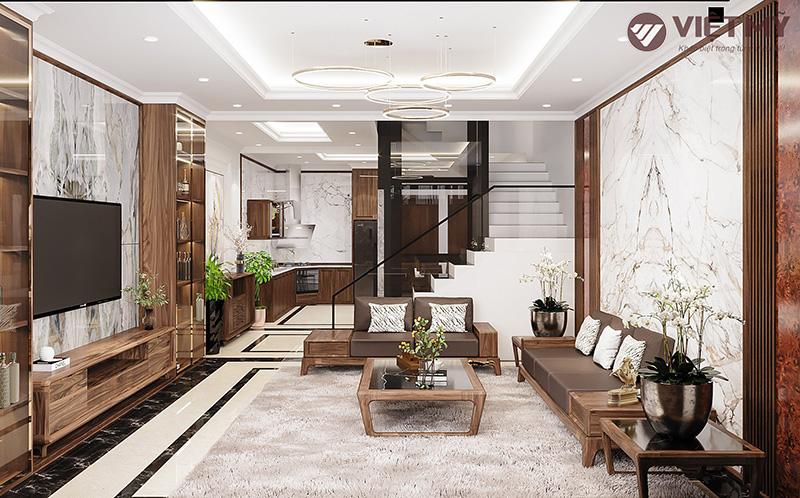 Thiết kế nội thất gỗ óc chó đẹp nhà phố tại Ninh Bình