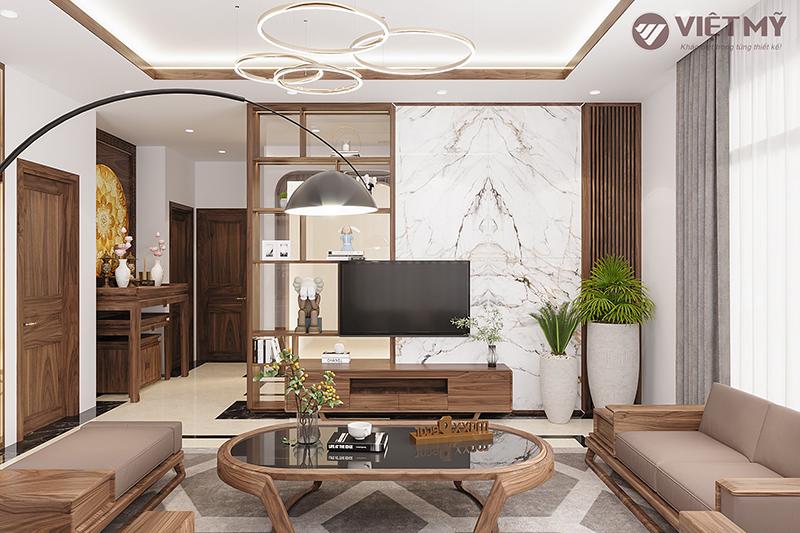 Thiết kế không gian nội thất phòng khách gỗ óc chó đặc sắc