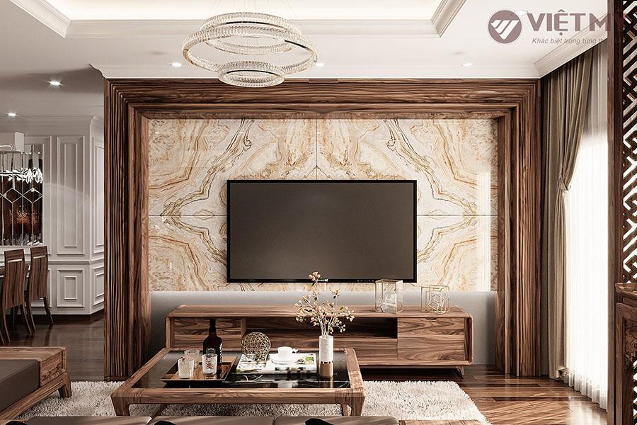 Vẻ đẹp sang trọng nội thất gỗ  óc chó nhà phố Hà Nội
